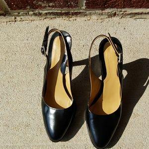 Faconnable black sling back heels